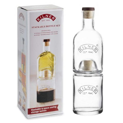 Kilner 2 x 350ml Stacking Oil Vinegar Whisky Water Bottle Set